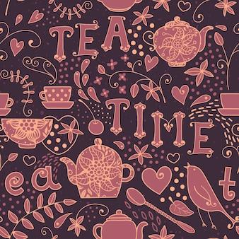 Modèle sans couture l'heure du thé