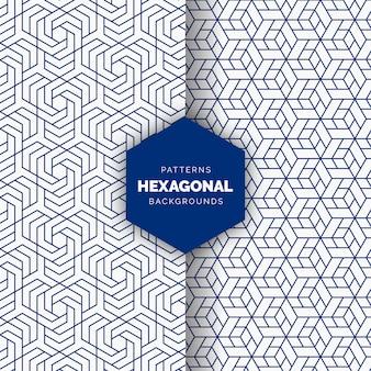 Modèle sans couture hexagonal abstrait bleu