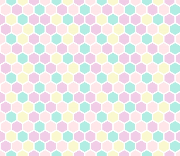 Modèle sans couture hexagone aux couleurs pastel.