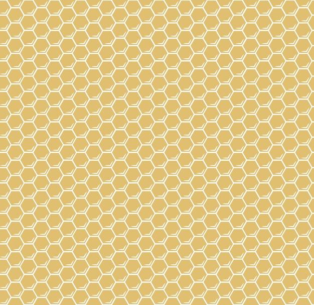Modèle sans couture hexagones nid d'abeilles jaune vecteur