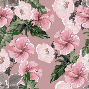 Modèle sans couture d'hibiscus