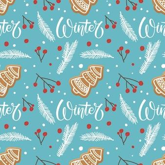 Modèle sans couture d'hiver avec des biscuits de forme d'arbre de noël de pain d'épice aux baies rouges de brindille d'épinette