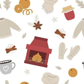 Modèle sans couture hiver confortable avec cheminée et feu.