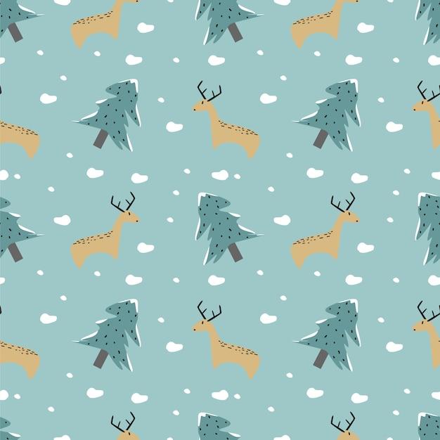 Modèle sans couture hiver drôle animal