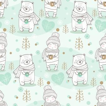 Modèle sans couture d'hiver enfants. garçon et ours dessinés à la main