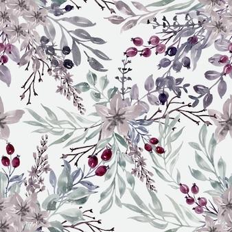 Modèle sans couture hiver floral aquarelle