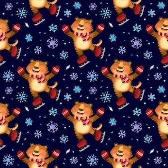 Modèle sans couture d'hiver de patins de tigre avec des flocons de neige le symbole de la nouvelle année 2022