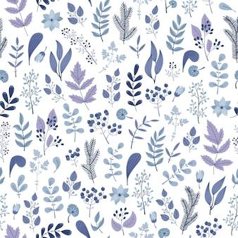 Modèle sans couture d'hiver avec des plantes et des fleurs bleues.