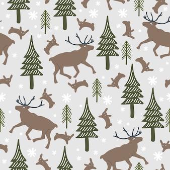 Modèle sans couture hiver avec rennes et forêt