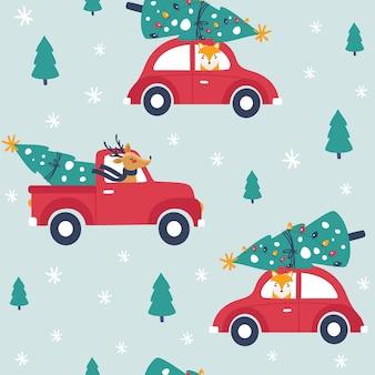 Modèle sans couture d'hiver avec voiture rouge et arbre de noël.