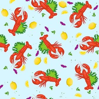 Modèle sans couture avec des homards et des citrons.