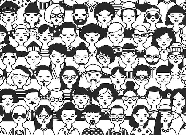 Modèle sans couture horizontal avec des visages ou des têtes de personnes différentes