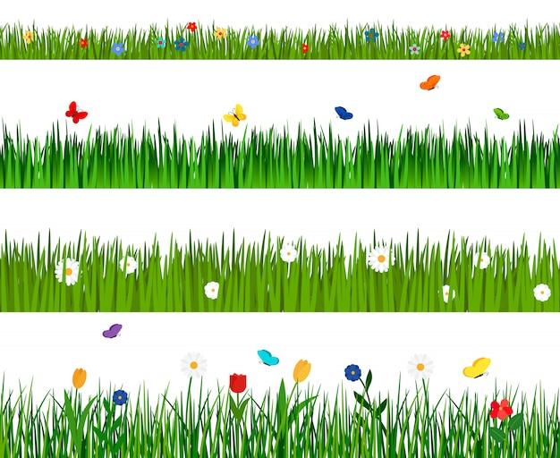 Modèle sans couture horizontale de printemps vert herbe et fleurs isolé avec des fleurs et des papillons