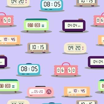 Modèle sans couture d'horloge numérique