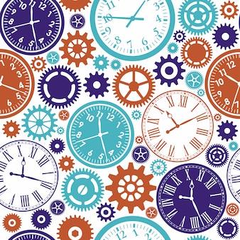 Modèle sans couture de l'horloge. texture de couleur du temps.