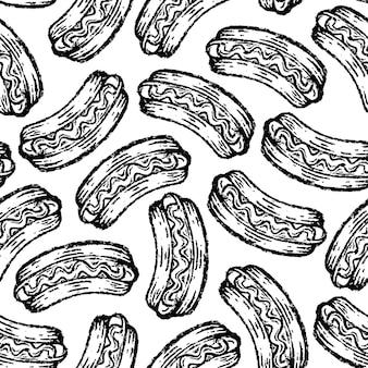 Modèle sans couture de hot-dog en dessin à la main