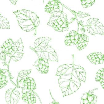 Modèle sans couture de houblon bière