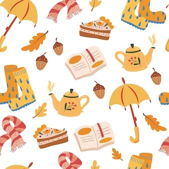 Modèle sans couture d'humeur d'automne. toile de fond décorative de symboles traditionnels d'automne. feuillage, nourriture, illustration de vêtements chauds. la saison d'automne attribue la texture. automne douillet. illustration vectorielle