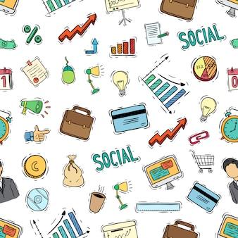 Modèle sans couture d'icônes d'affaires avec le style de couleur doodle