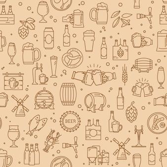 Modèle sans couture d'icônes de bière kraft dans un style moderne