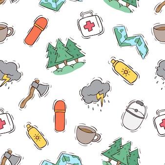 Modèle sans couture d'icônes de camping