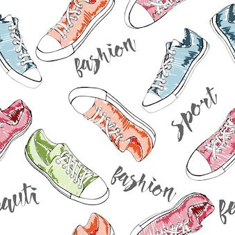 Modèle sans couture avec des icônes de chaussures de sport ou de baskets dans différentes vues illustration vectorielle