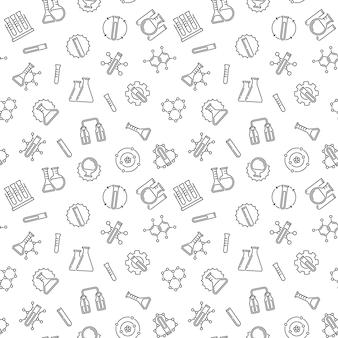 Modèle sans couture avec des icônes de contour de chimie