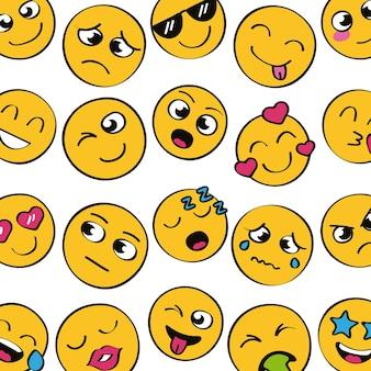 Modèle sans couture d'icônes emojis