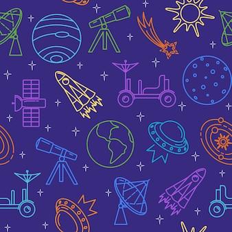 Modèle sans couture avec des icônes de l'espace