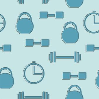 Modèle sans couture avec des icônes de gym dans le style de ligne - vecteur de fond bleu