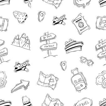 Modèle sans couture d'icônes de voyage avec style doodle