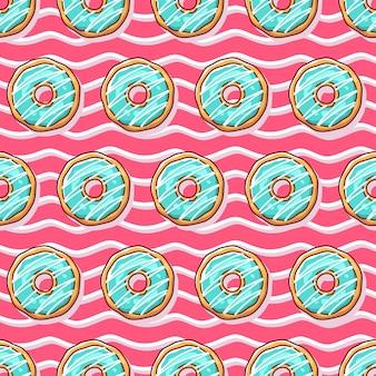 Modèle sans couture d'illustration de beignets colorés