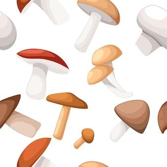 Modèle sans couture. illustration de différents champignons sur fond blanc. style plat.