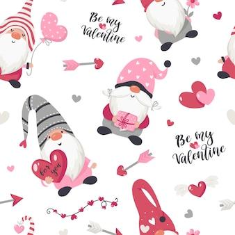 Modèle sans couture avec illustration de gnomes de la saint-valentin