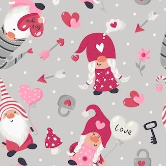 Modèle Sans Couture Avec Illustration De Gnomes De La Saint-valentin Vecteur Premium