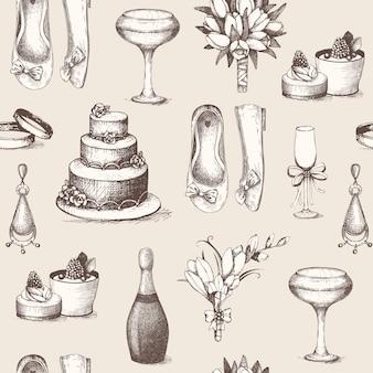 Modèle sans couture avec illustration de mariage dessiné main encre vintage.