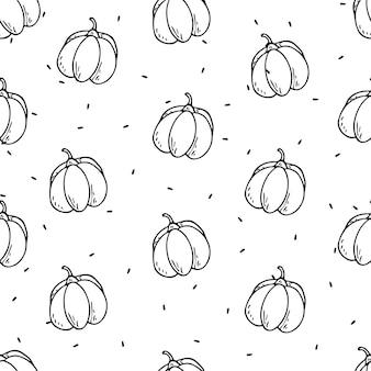 Modèle sans couture d'illustration plate de vecteur sur un thème d'automne. les objets de griffonnage de citrouille sont découpés. décoration de fond.