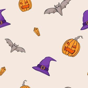 Modèle sans couture d'illustration vectorielle. autocollants doodle avec thème halloween. décoration de fond