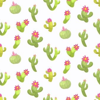 Modèle sans couture d'illustration vectorielle cactus