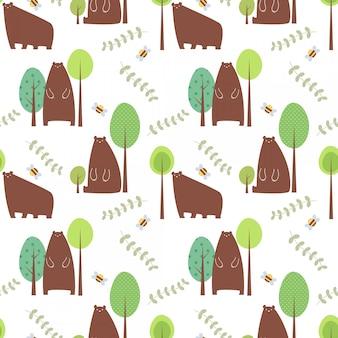 Modèle sans couture d'illustration vectorielle avec caractère ours