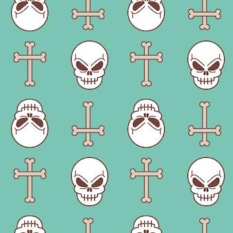 Modèle sans couture d'illustration vectorielle avec crâne et os