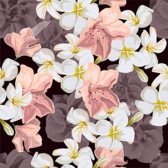 Modèle sans couture avec illustration vectorielle fleur tropicale