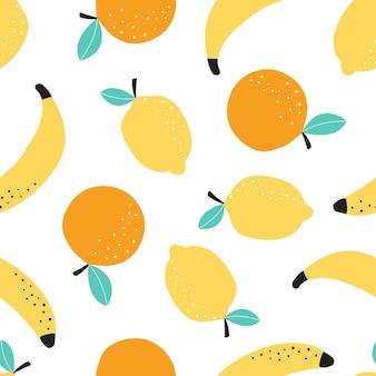 Modèle sans couture avec illustration vectorielle de fruits banane citron et orange