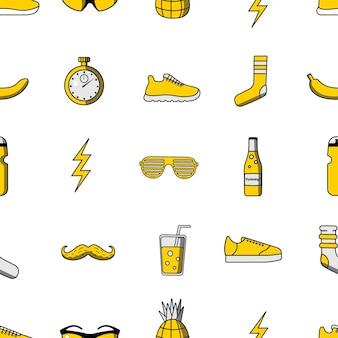 Modèle sans couture d'illustration vectorielle avec des icônes de sport