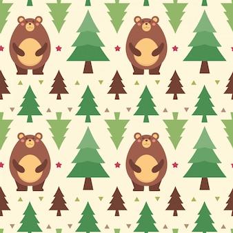Modèle sans couture d'illustration vectorielle avec ours