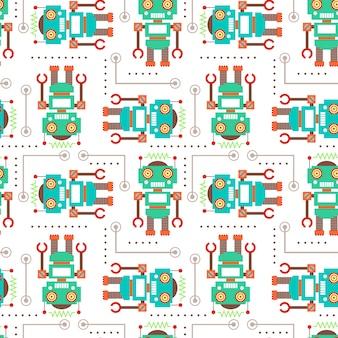 Modèle sans couture d'illustration vectorielle avec robot