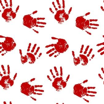 Modèle sans couture d'impression de main de sang sur fond blanc impressions rouges