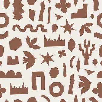 Modèle sans couture inspiré de matisse avec des formes organiques et des plantes de coupe brunes sur fond pastel