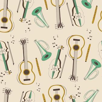 Modèle sans couture avec instruments de musique guitare violon flûte trompette dessin animé dessiné à la main