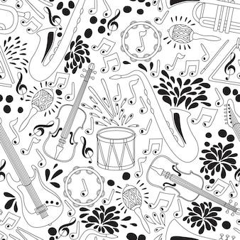 Modèle sans couture avec instruments de musique.